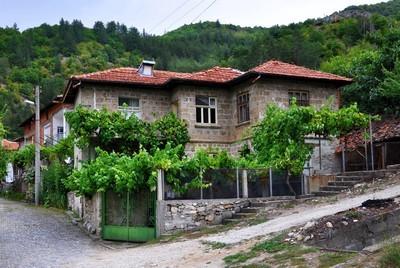 乡村街道铺有石路和老房子在山的背景