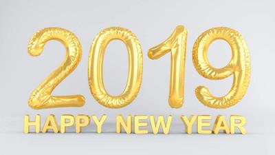 3d 交付箔气球与年2019年在金子和消息新年快乐在白色背景-假日概念-代表新的年2019年