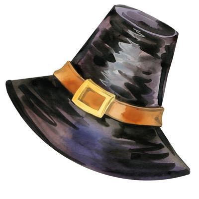 感恩节的帽子。水彩插图