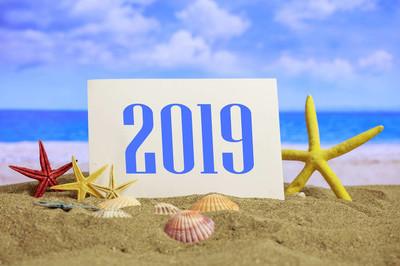新年2019庆祝在海滩, 夏天圣诞节假期