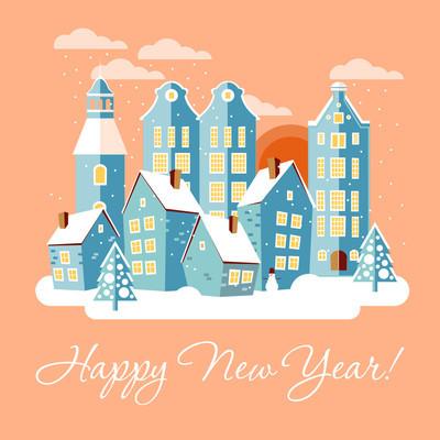 圣诞节与新年贺卡与冬季城市景观
