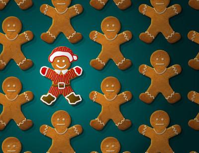 姜饼人装饰在圣诞套装