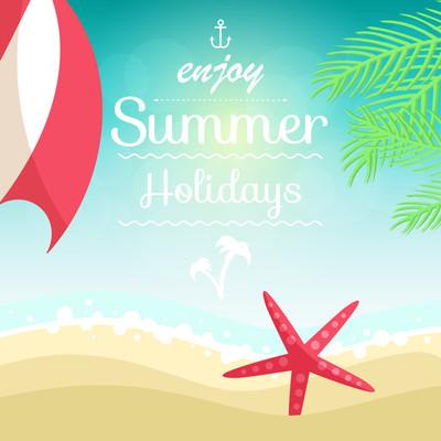 夏季假期插图-掌,沙滩上的海星