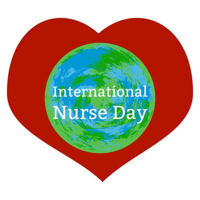 国际护士日。白色背景, 心脏, 地球