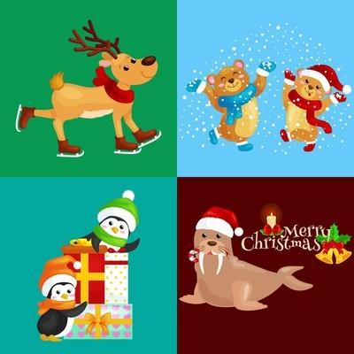 例证集合动物冬天假日北极企鹅与礼物和熊在雪之下, 鹿滑冰, 海象在帽子。圣诞快乐新年