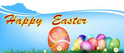 复活节 eggs.holiday。快乐 easter.vector