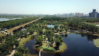 航拍陕西渭河生态湿地公园风光,痞子乐摄影