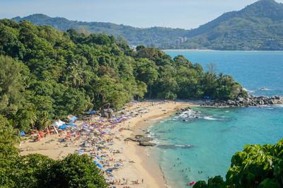 从顶视图点,泰国普吉岛海滩