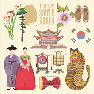 韩国旅行矢量海报宝塔与传统的迹象。韩国之旅卡与韩国的对象