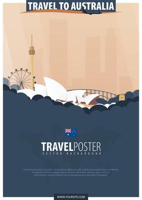 去澳大利亚旅行。旅游和旅游海报。矢量扁 illu