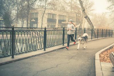 年轻女孩跑来和她的狗,阿拉斯加雪橇犬的形象