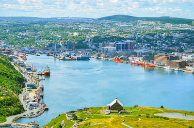 St John's Harbour in Newfoundland Canada.  Super wide panoramic view, Warm summer day in August.