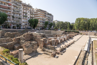 Greece. Archaeological excavations of the Roman Agora in Thessaloniki (I - IV century AD.)