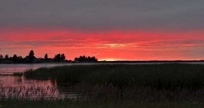 夏季日落河