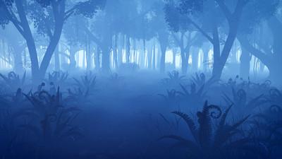 薄雾笼罩的夜色森林与前景的山坡灌丛蕨类植物