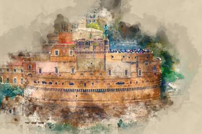 天使城堡叫卡斯特圣安杰罗在罗马-伟大的鸟瞰图,从梵蒂冈