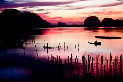 在渔民村美丽的日出