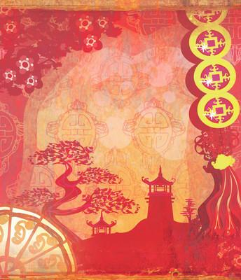 中国风景装饰画卡