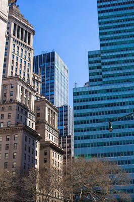 在曼哈顿的纽约城摩天大楼