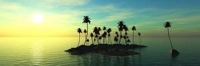 全景图的海上日落。海洋日出的景色