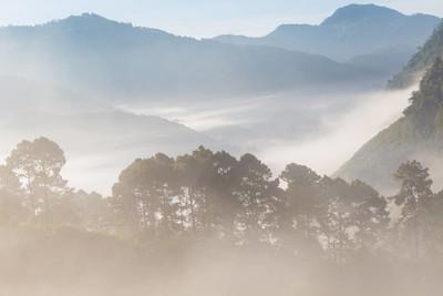 清晨日出时, 山上景色朦胧