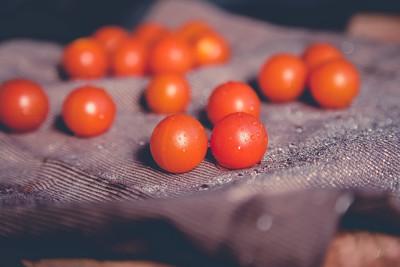 分散的樱桃西红柿