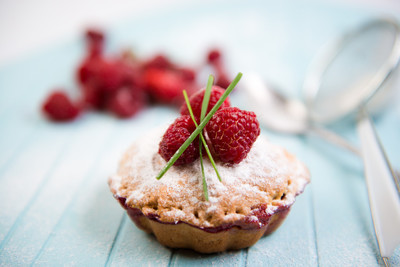 蛋糕与新鲜樱桃浆果韧皮篮子