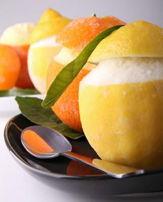 冰的橙子和柠檬