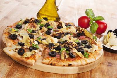 烹饪披萨吃