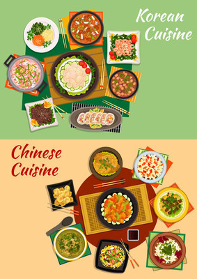 Chinese and korean cuisine dishes icon
