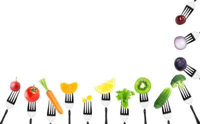 水果和蔬菜上叉
