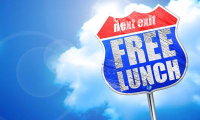 免费的午餐,3d 渲染,街头的蓝色标志