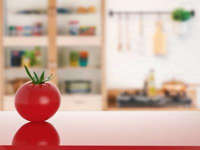 番茄与厨房背景柜台上