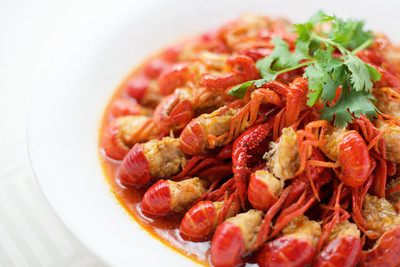 中国的麻辣小龙虾菜