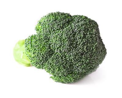 在一张白纸的绿花椰菜