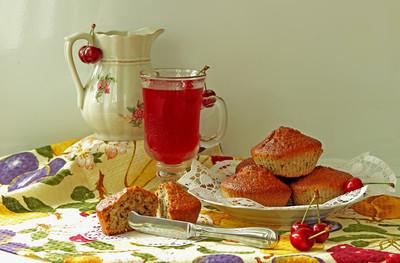 松饼、 冷饮和樱桃