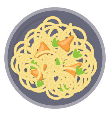 A bowl loaded with evening snacks depicting icon for noodles