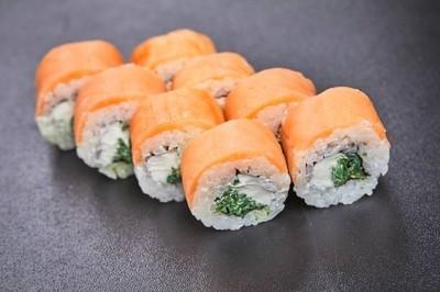 新鲜美味寿司套装灰色背景