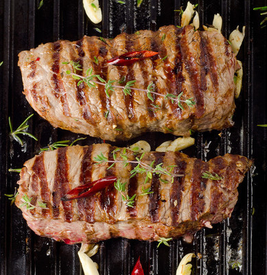 Beef steaks on   grill pan