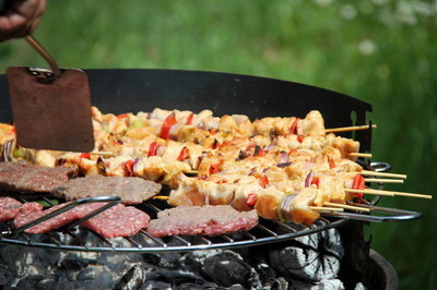 Barbecue Grilled meat on the BBQ grill