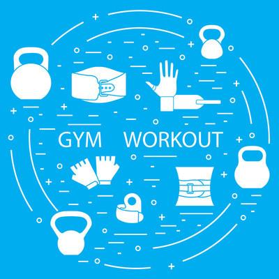 围成一圈的举重健身房锻炼元素
