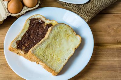 早餐面包黄油和巧克力