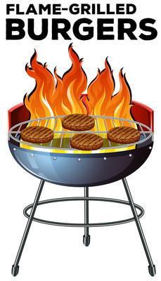 烹饪上火焰烤汉堡