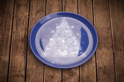 手多彩菜盘子上的绘制的食物金字塔。