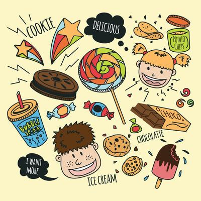 各种小吃卡通图标