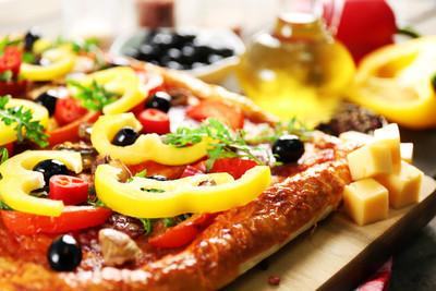 矩形美味的披萨