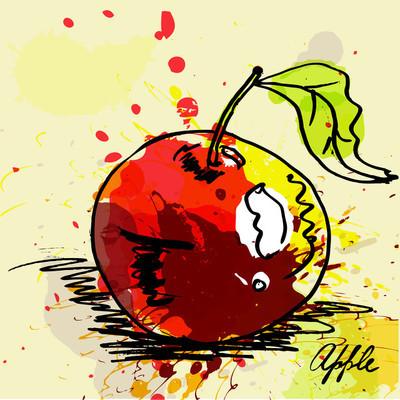 Stiliserade apple på grunge bakgrund