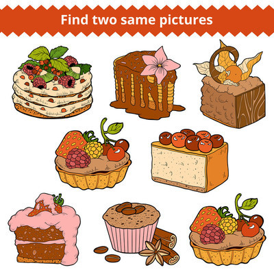Find two same pictures. Vector color set of cakes and cupcakes