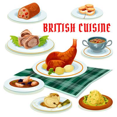 British cuisine cartoon icon for restaurant design