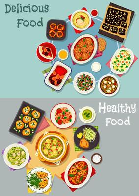 食品主题设计的美味晚餐菜图标
